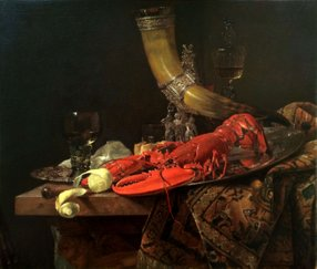 Still Life with Lobster, Drinking Horn and Glasses - after Willem Kalf