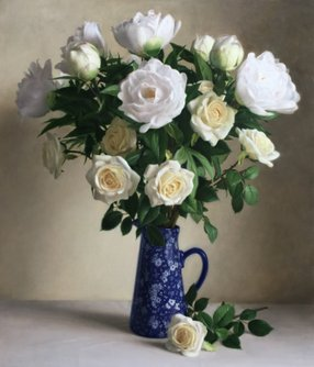 Peonies and White Roses